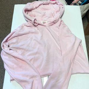 Baby pink garage cropped hoodie